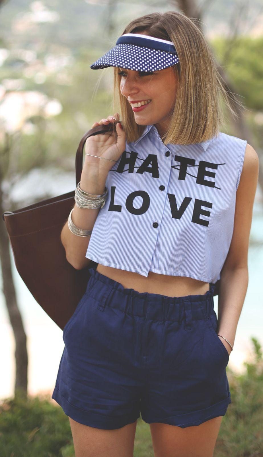 Choies Blue Sleeveless Crop Pattern Pinstripe Button Up Shirt by My Showroom Blog