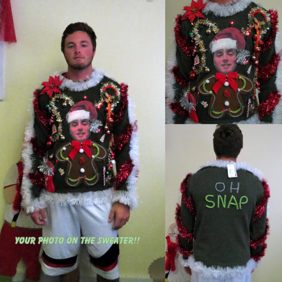 Custom Christmas Sweaters.Custom Your Photo Sweater Light Up Tacky By