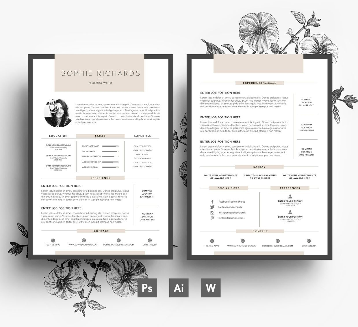 2 Page Resume Sample Enchanting Custom Resume Template 2 Page Cv  Cover Letter Psd File .