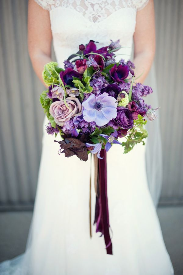purple wedding bouquet // photo by Ally Michelle, flowers by Art with Nature Design // view more: http://ruffledblog.com/purple-handmade-california-wedding