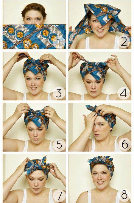 バンダナ巻き方全体 ターバンスタイル バンダナのヘアスタイル
