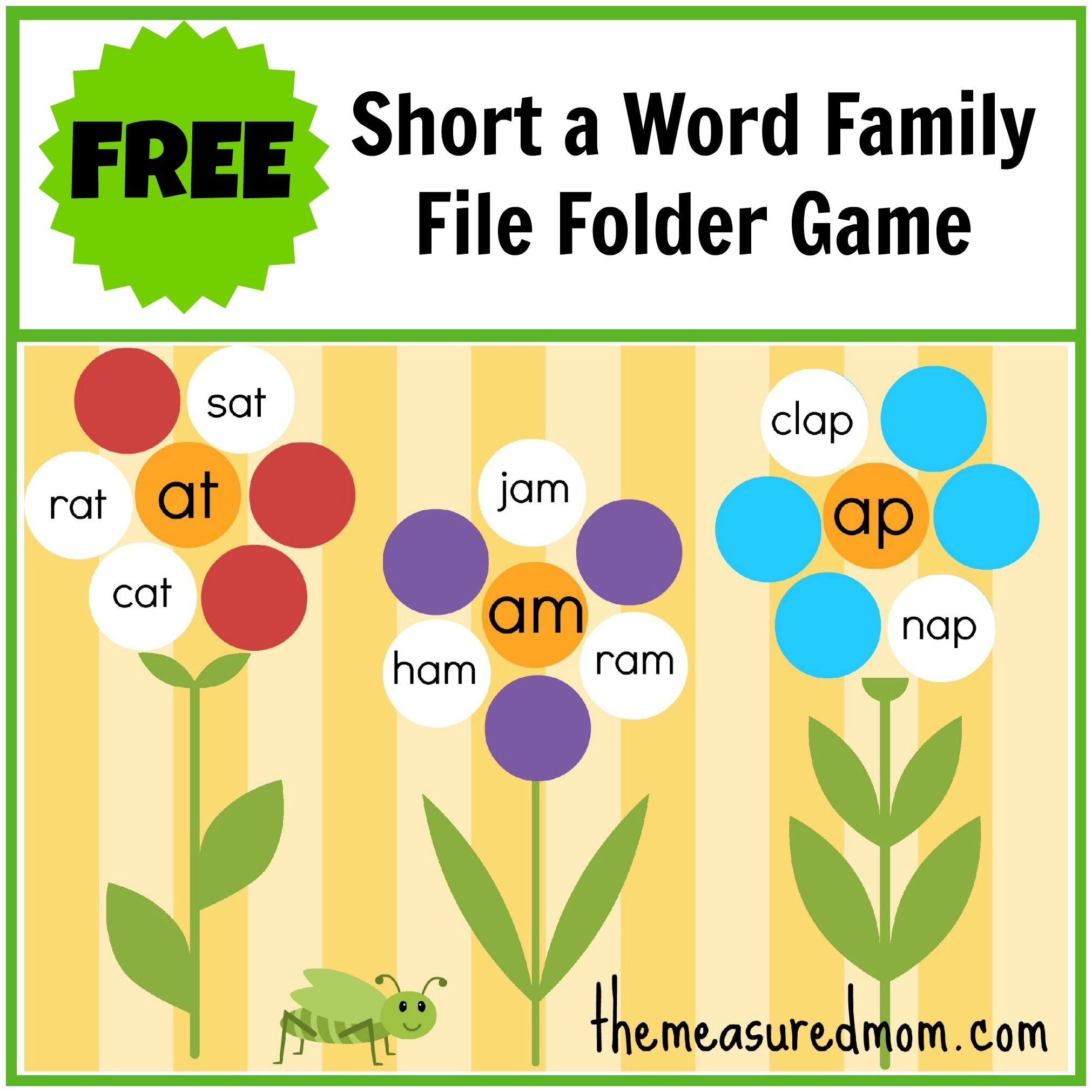Free Word Family File Folder Game Short A With Images Word