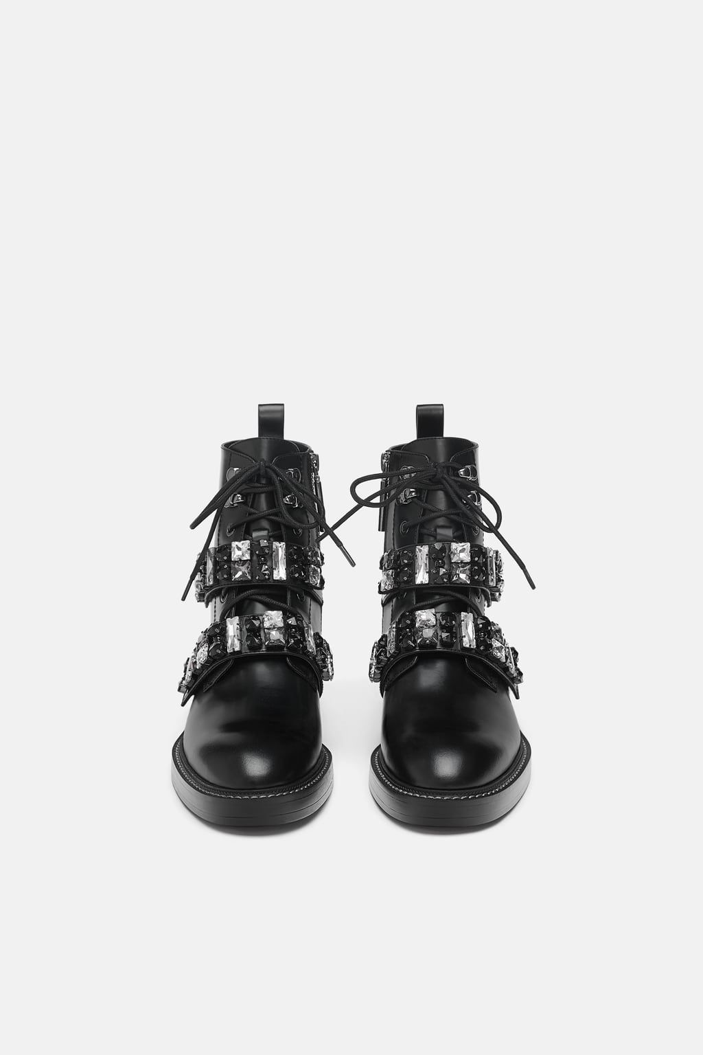 963b6b778e3 Image 3 of LEATHER BIKER ANKLE BOOTS WITH BEJEWELLED STRAPS from Zara