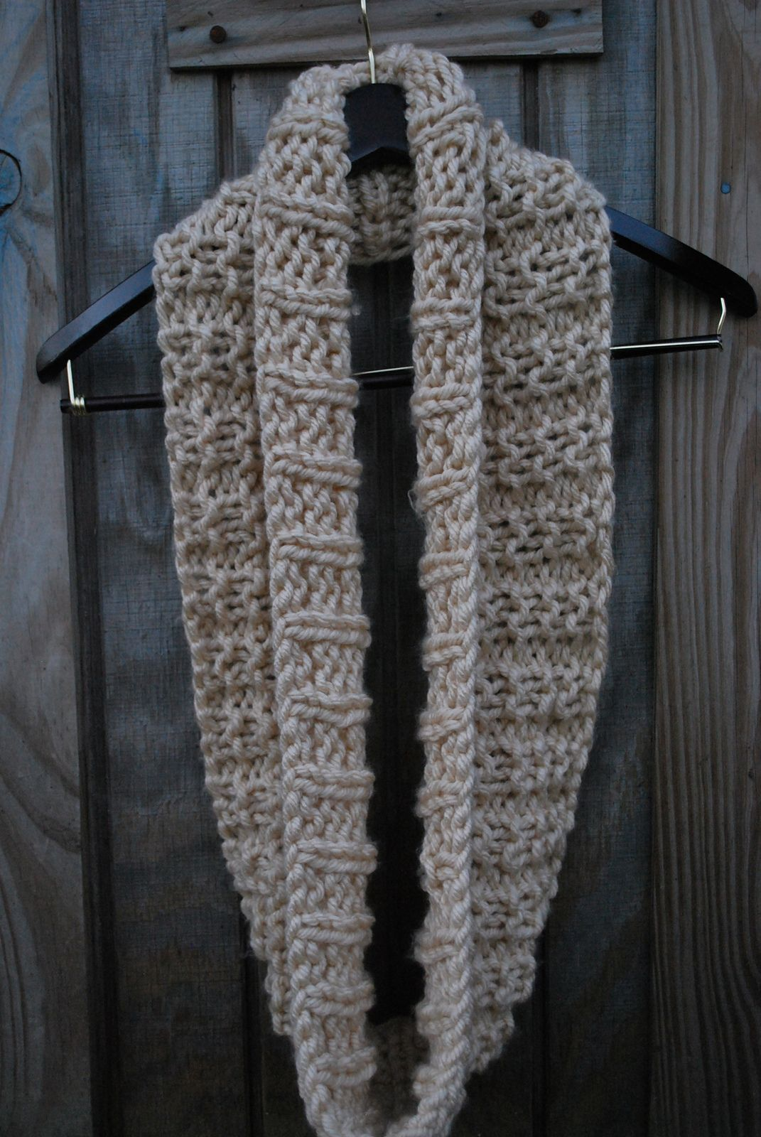 The Mid December Easy Knit Infinity Scarf Pattern By A Crafty House