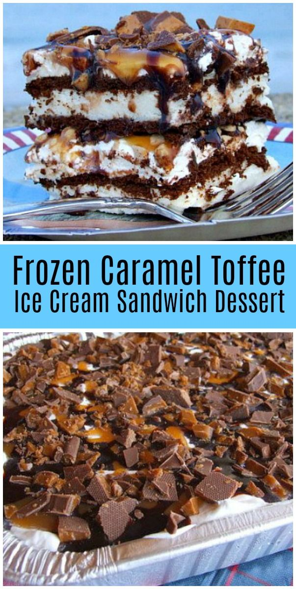 Frozen Caramel Toffee Ice Cream Sandwich Dessert #icecreamsandwich