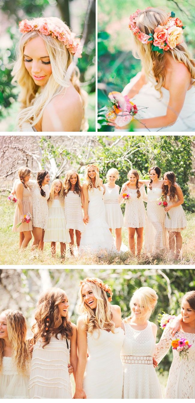 Love the bright flower colors with the light colored dresses
