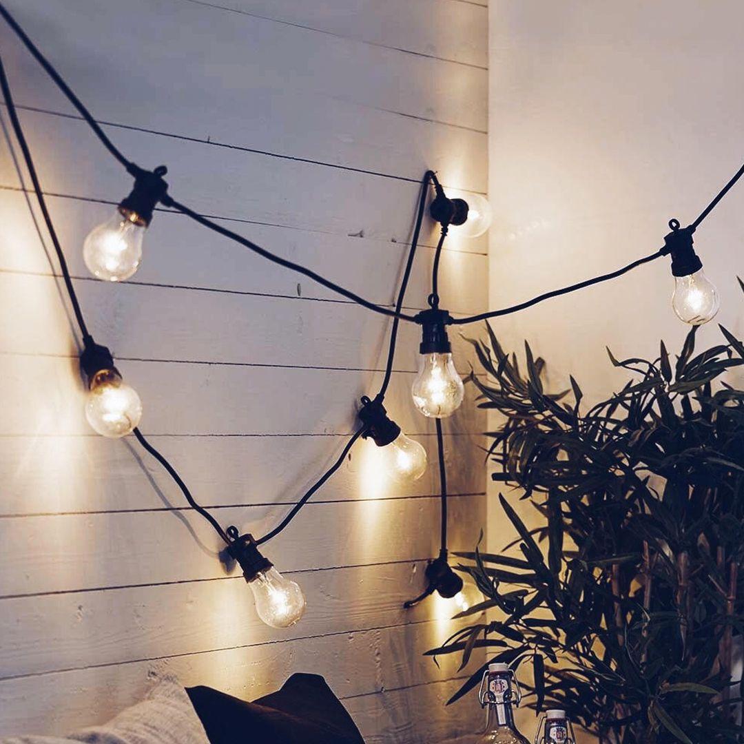 Ljusslinga Med Glodlampor Dekorera Belysning Glodlampa