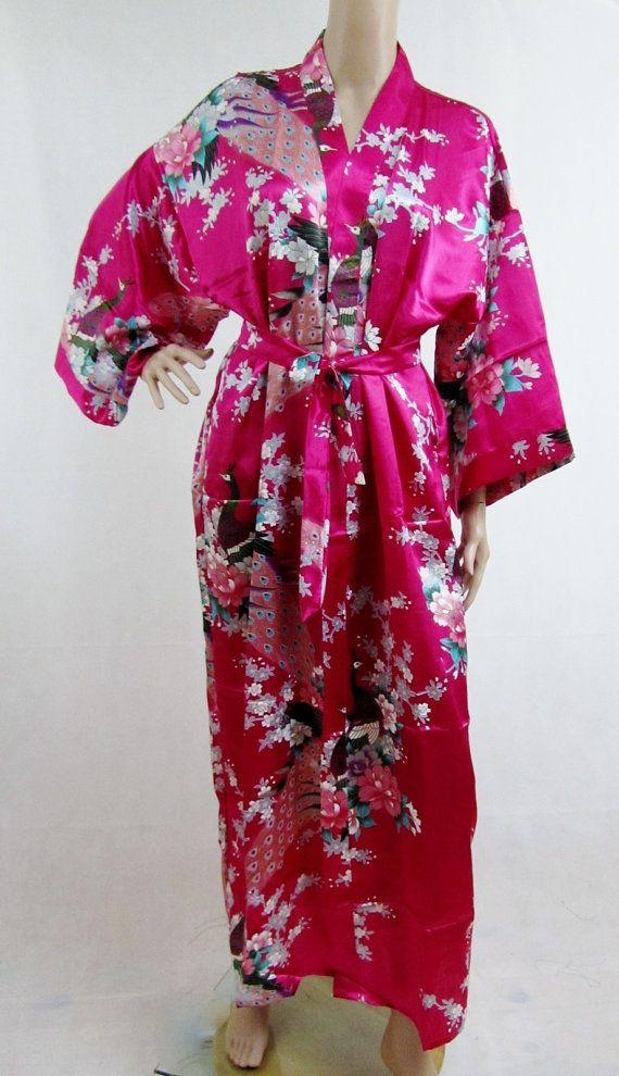 Hot Pink Silk LONG Bathrobe, House coat, kimono, dressing gown ...