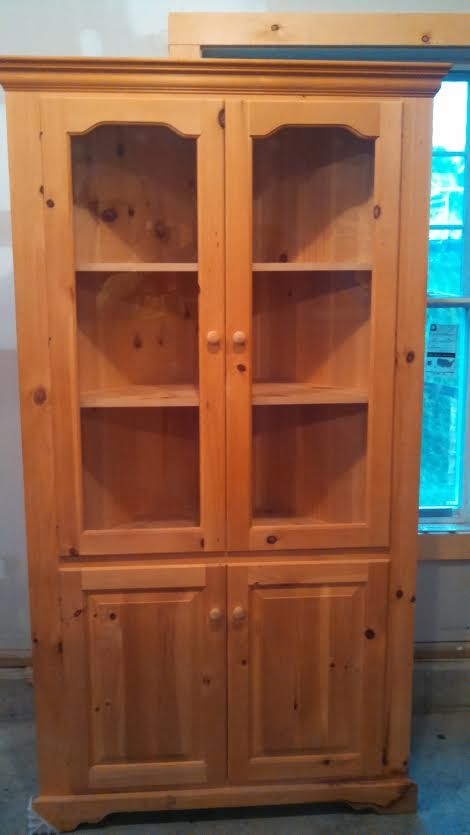 Unfinished Pine Corner Cabinet With Glass Doors In Nickandnathan S