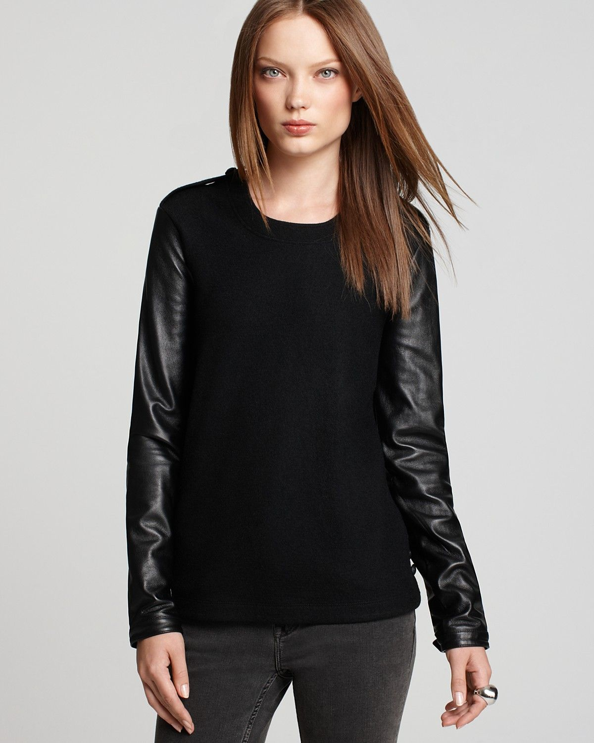 Burberry Brit Long Sleeve Crew Neck Sweater With Leather Sleeves