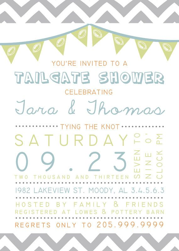 953fc928f4f7 Printable Custom Personalized Tailgate Couples Shower Invitation ...
