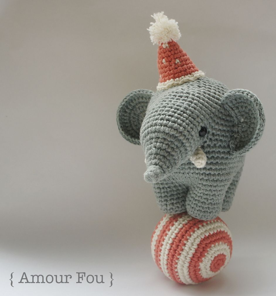 Free Circus Elephant & Ball Crochet Pattern by Amour Fou | Knit ...