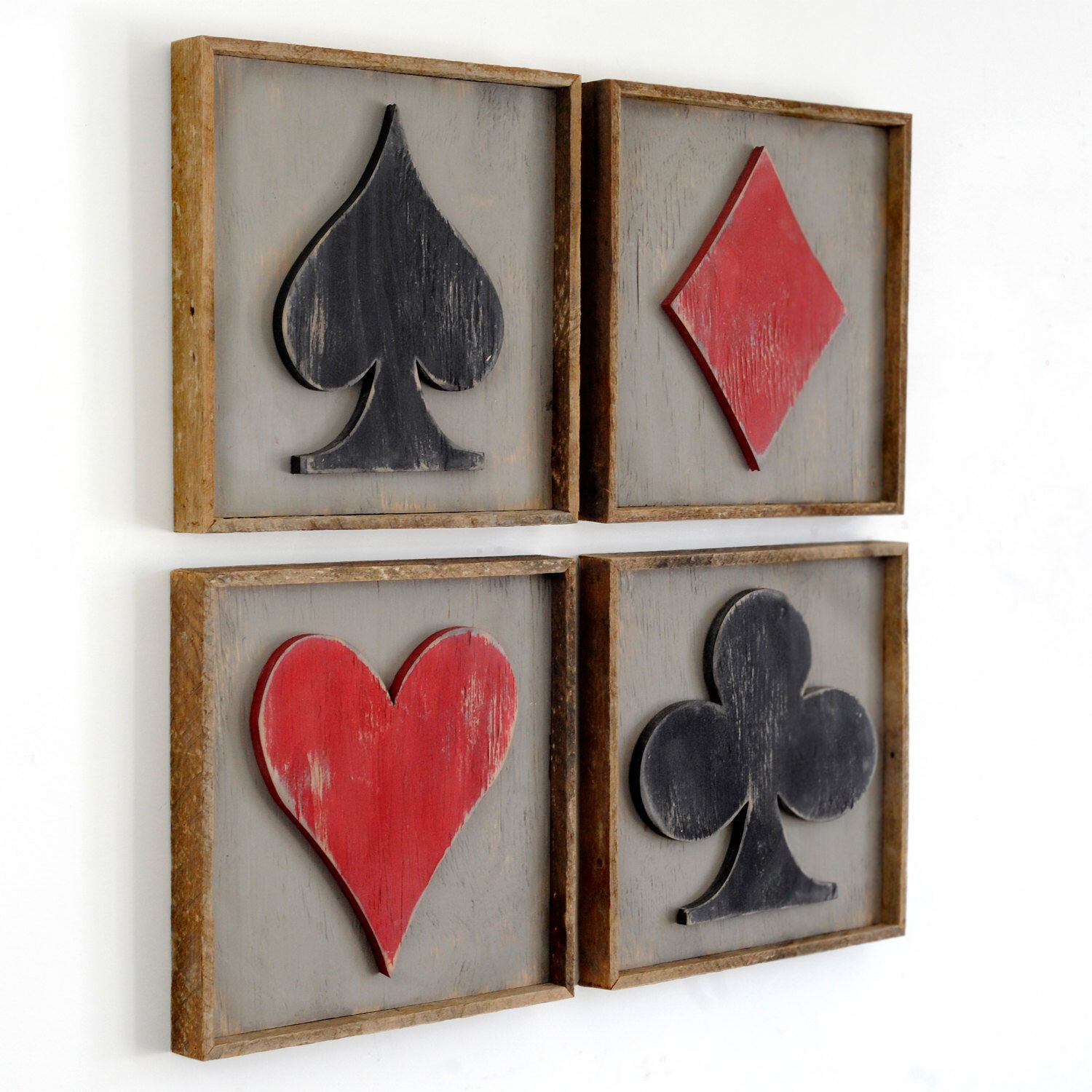 Framed playing cards suits 4 pc set game room decor poker