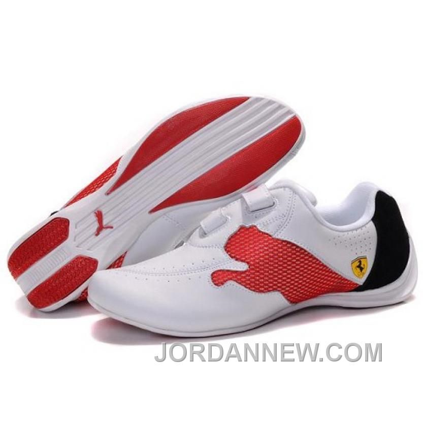 Puma Ferrari shoes in white, black and red. Featuring a criss-cross velcro  strap, this shoe resembles a climbing style, but can also fit casual  wearing.