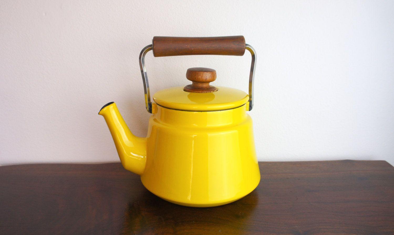 vintage dansk tea kettle yellow enameled steel large heavy tea  - kettle · vintage dansk tea