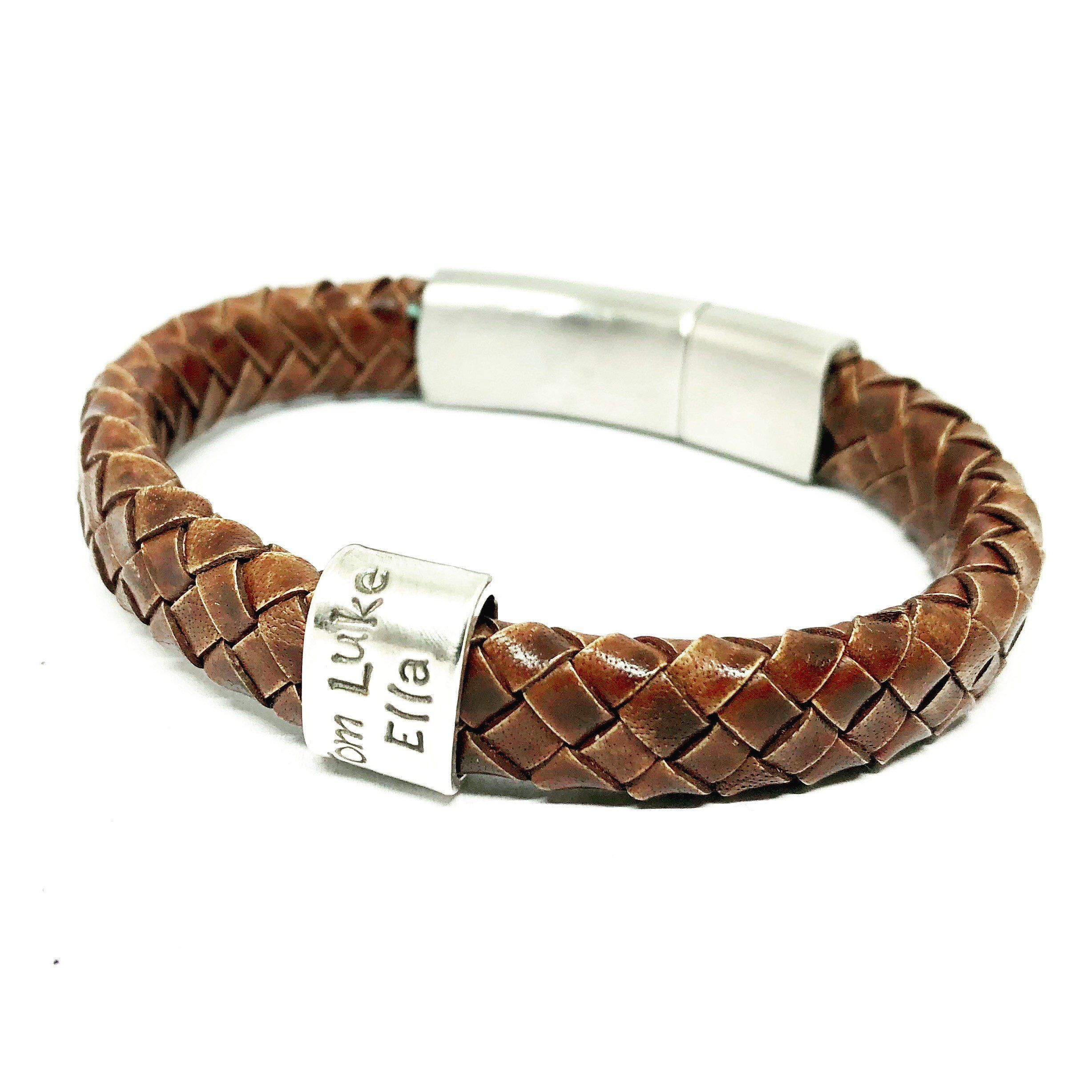 Personalised Braided Leather Bracelet Flat Leather Cuff Mens Etsy Braided Leather Bracelet Golf Gifts For Men Leather Bracelet