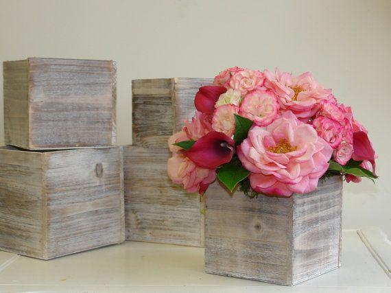 Wood Box Wood Boxes Woodland Planter Flower Pot By Aniamelisa Wood Flower Box Flower Pot Centerpiece Wood Box Centerpiece