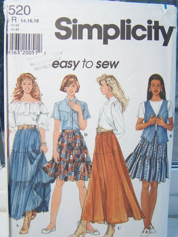 Simplicity 7520 Women\'s Sewing Pattern, SALE Misses\' Tiered Skirt ...