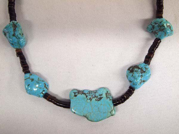 Navajo Dead Pawn Kingman Turquoise Heishi Necklace : Lot 1122