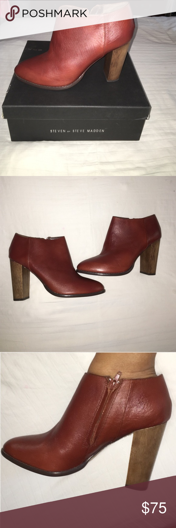 """Steven by Steven Madden Sandra Bootie New Features Leather Imported Synthetic sole, COGNAC color Heel measures approximately 4"""" A wooden heel contrasts beautifully with the sleek leather in this low-cut bootie. Brand new boots comes in box Steven by Steve Madden Shoes Ankle Boots & Booties"""