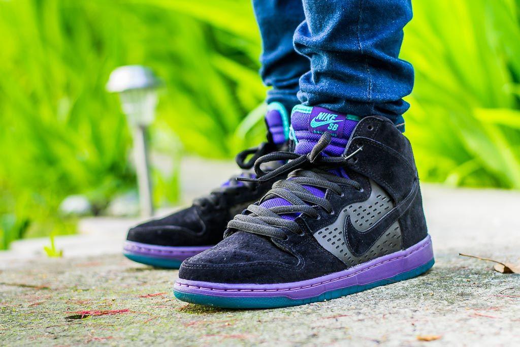Nike Dunk High Sb Black Grape On Feet Sneaker Review Nike Sneakers Fashion Sneakers