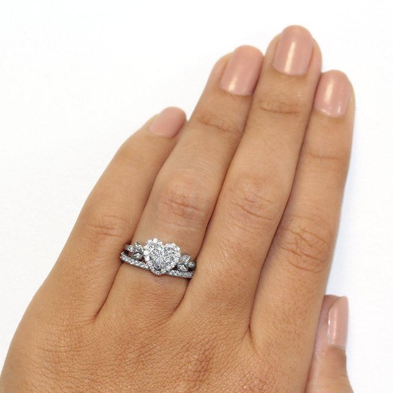 Heart Shaped Diamond Unique Engagement Ring, Heart Diamond Wedding