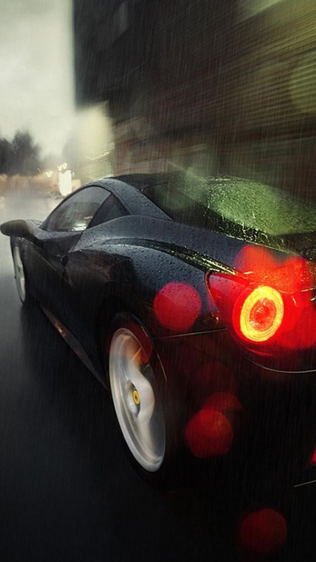 Running Car In Rain Silhouette #iPhone #7 #wallpaper