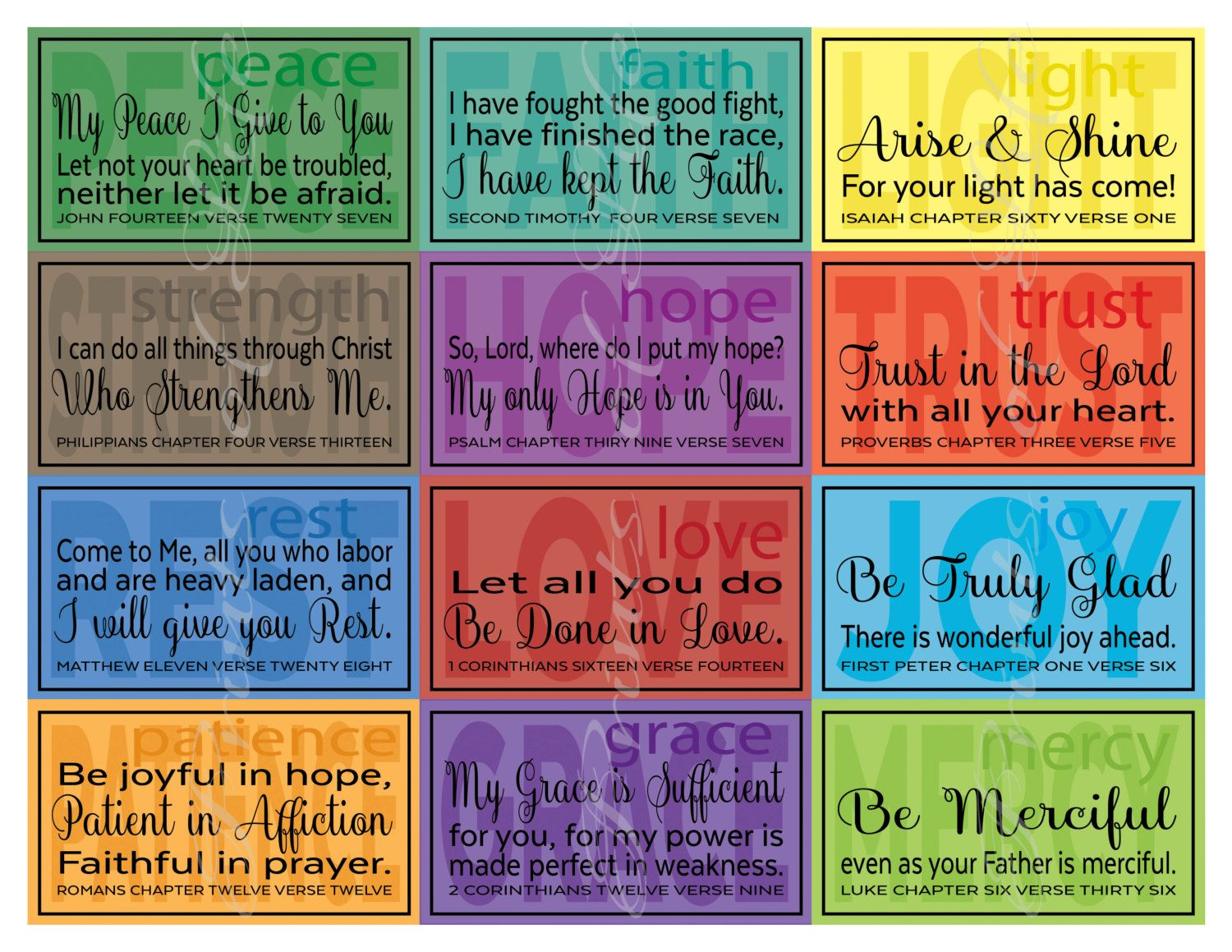 Verse Notes Lunchbox Cards Instant Printable Pdf 24 Business Card Size For Spouse Friend Family Member From Printsoflife On Etsy