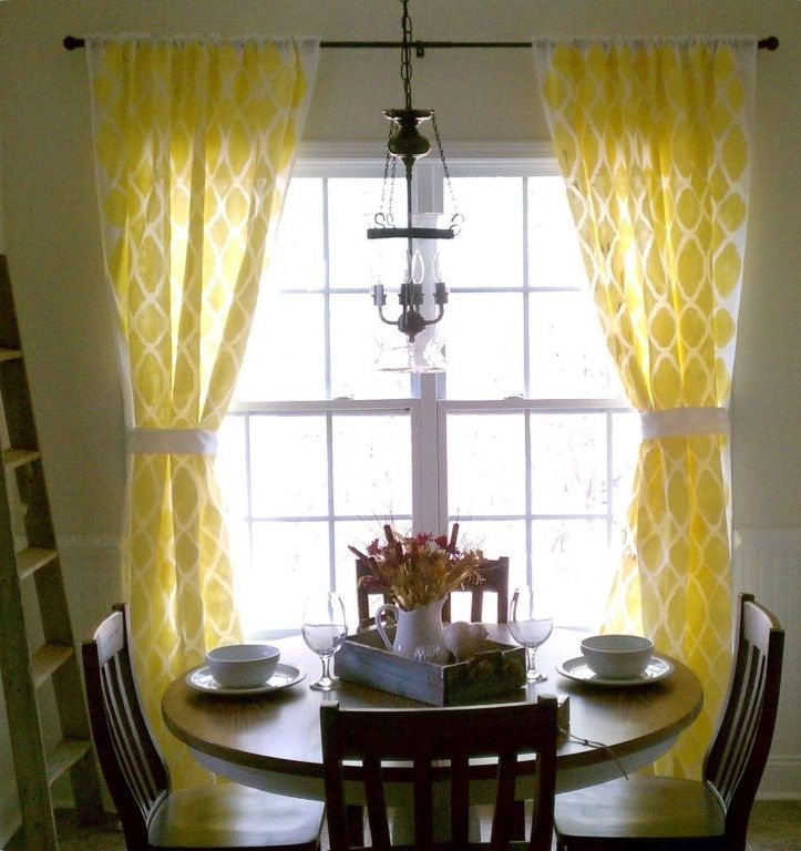 Yellow Geometric Curtain For The Dining Room