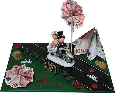 lustige geldgeschenke zur hochzeit brautpaar auf motorrad gastgeschenk geldgeschenk. Black Bedroom Furniture Sets. Home Design Ideas