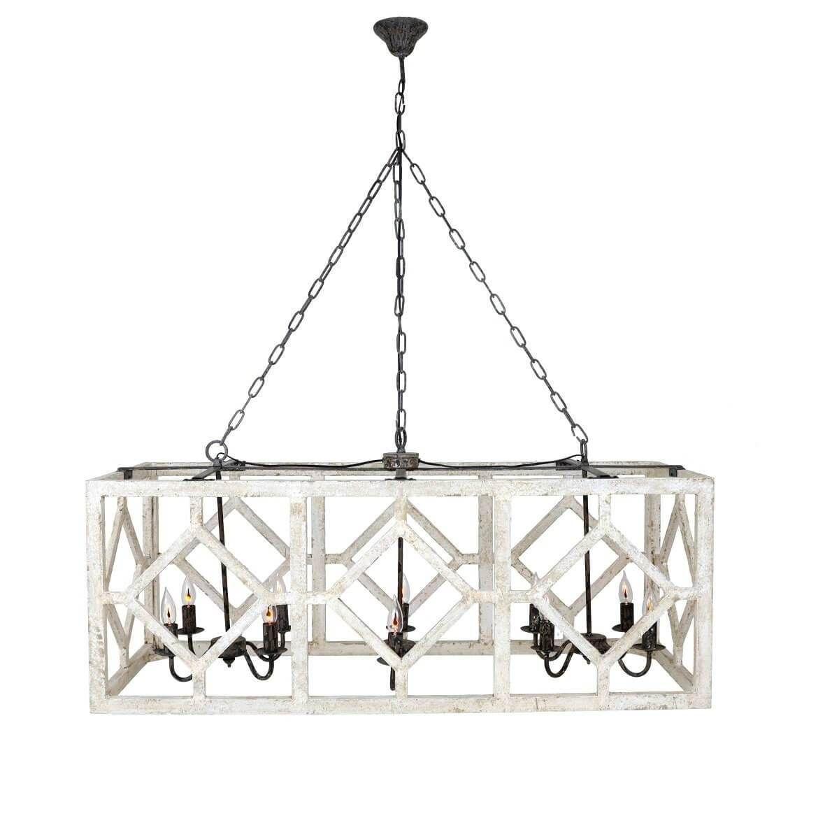 Myrtle 10 Light Rectangular Pendant Light Rectangular Pendant Light Wooden Light Fixtures Wooden Chandelier