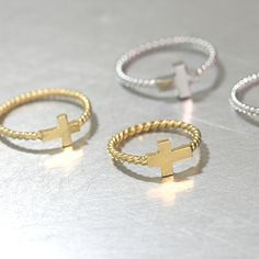 Gold Sideways Cross Ring Sterling Silver from kellinsilver.com