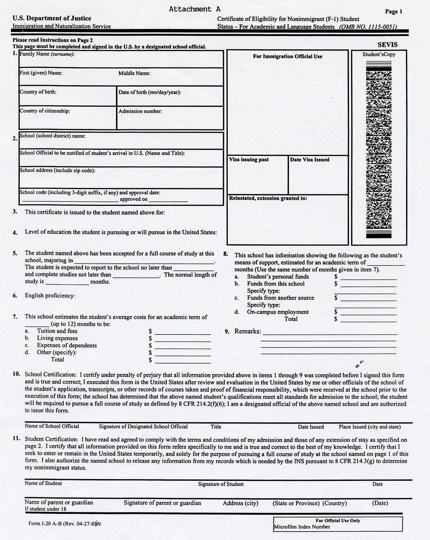 Sevis Form I 20