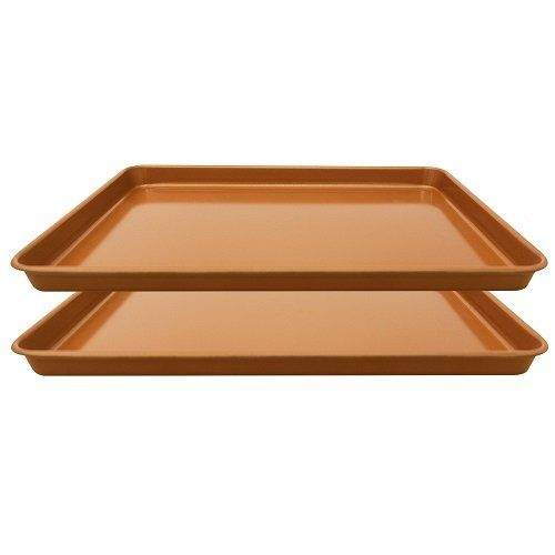 Gotham Steel Non Stick Copper Cookie Sheet Baking Pan 17 6 X 11 8 X 1 2 Pack Gotham Steel Ceramic Coating Cookie Sheet