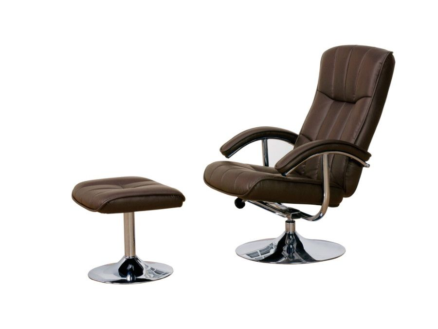 Alpha Reclining Tv Chair And Stool Brown Leather Effect