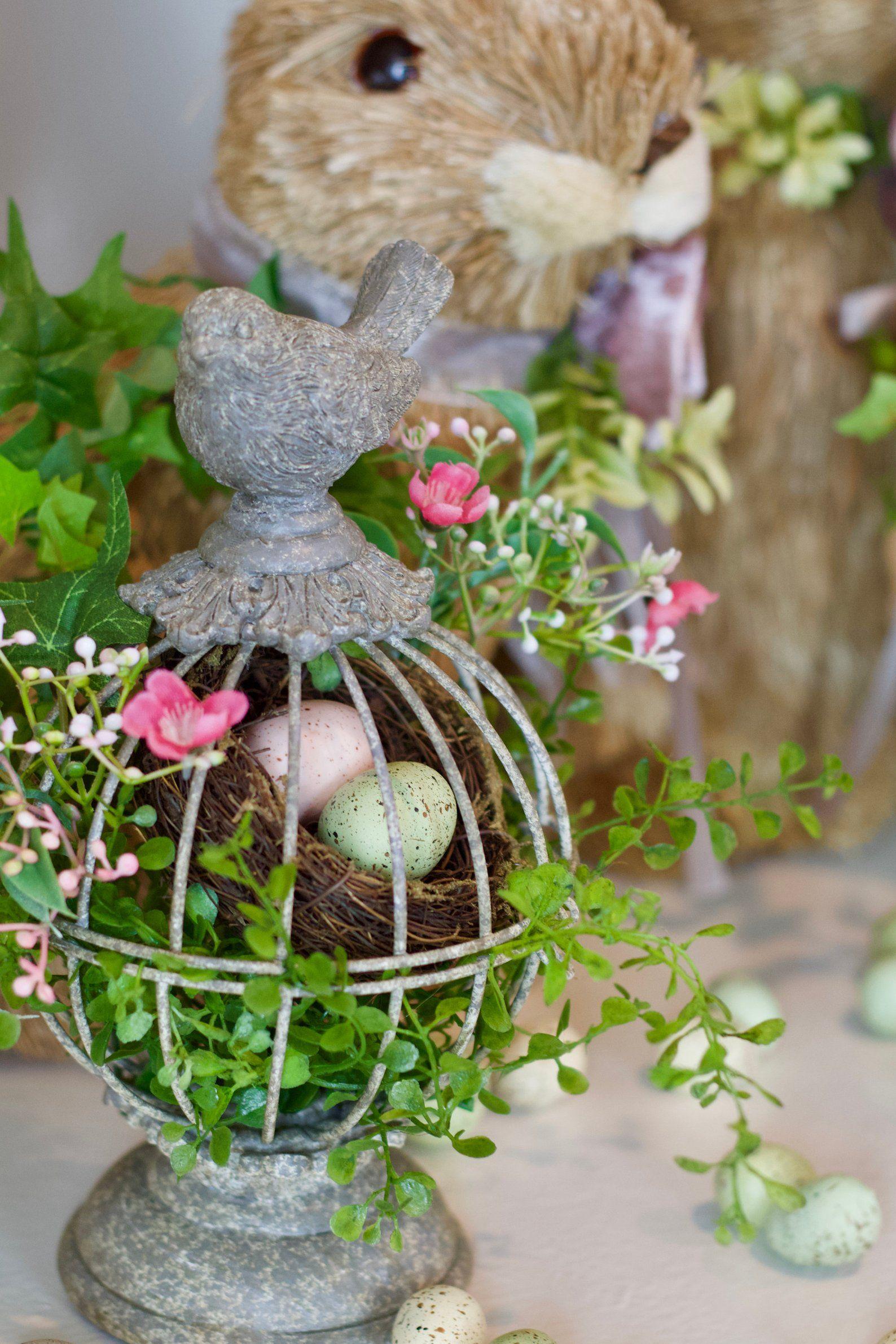 Easter Egg Tabletop Decor In Bird Cage Easter Decor For Etsy Easter Floral Arrangement Flower Arrangements Easter Floral