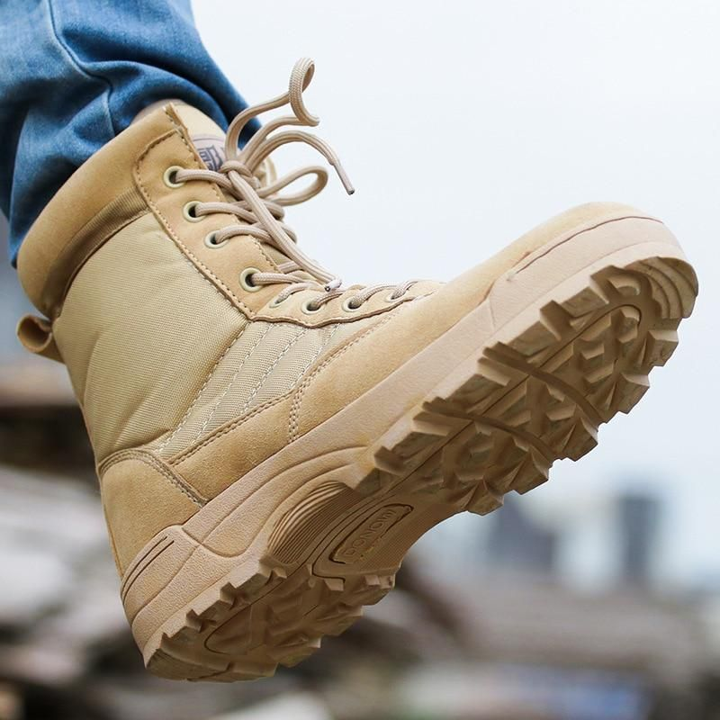 Photo of Men Desert Military Boots Male Winter Tactical Snow Ankle Boots army Combat Lace Up Outdoor safety Shoes Work Botas motocycle