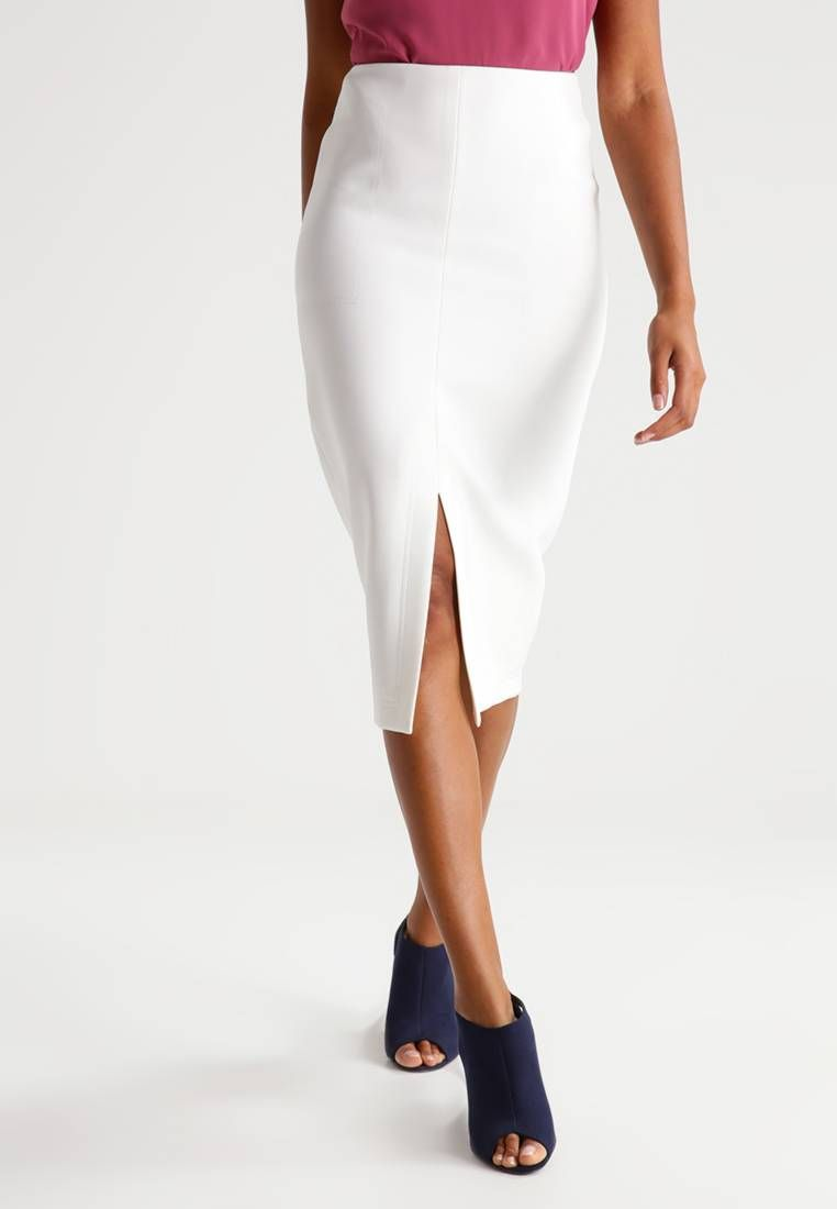 8cd91a17a Length:knee-length. Pattern:plain. Fit:Tailored. Back material:100%  polyester. Our model's height:Ou... SILAAS - Pencil skirt - white.