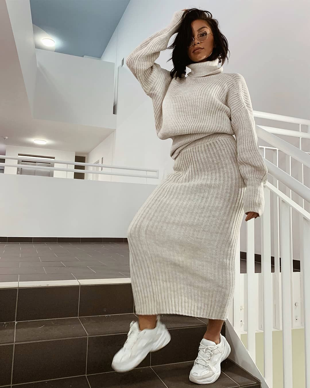 "44df001616 Missy Empire on Instagram: ""Slay in that co-ord babes🔥 🔍 Search: Vicki  Beige Knit Jumper Midi Co-ord Set (£42) 💕 Tag @missyempire & #missygirls  to be ..."