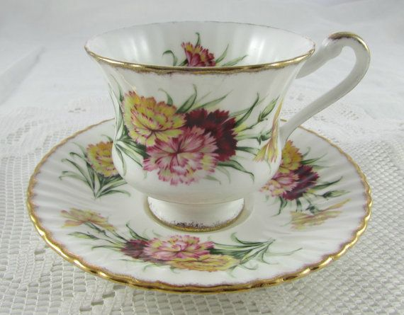 Paragon Yellow, Pink, and Red Carnation Tea Cup and Saucer