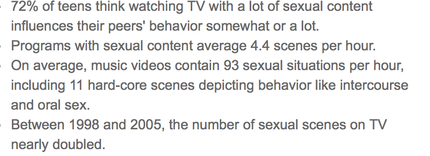 Sexual content in television shows