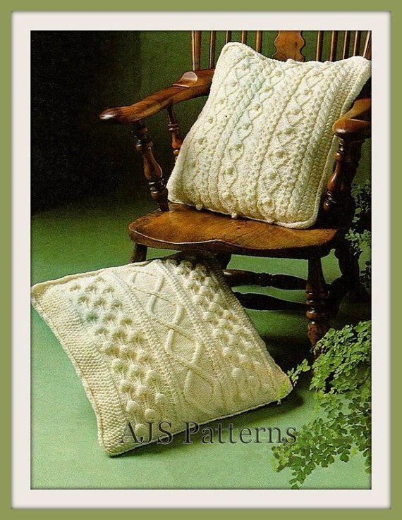 PDF Knitting Pattern For 2 Aran Style Cushions - Diamond Honeycomb ...