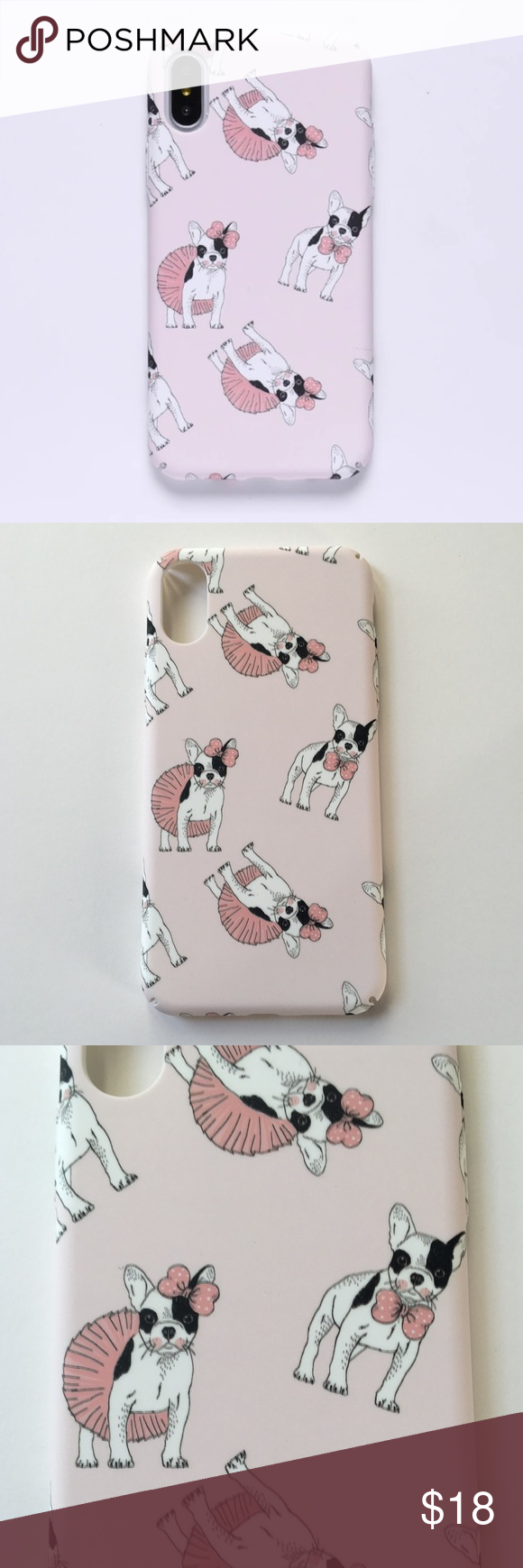 "iPhone X Case ""Pink French Tutu Bulldog / GLOWS"" Boutique"