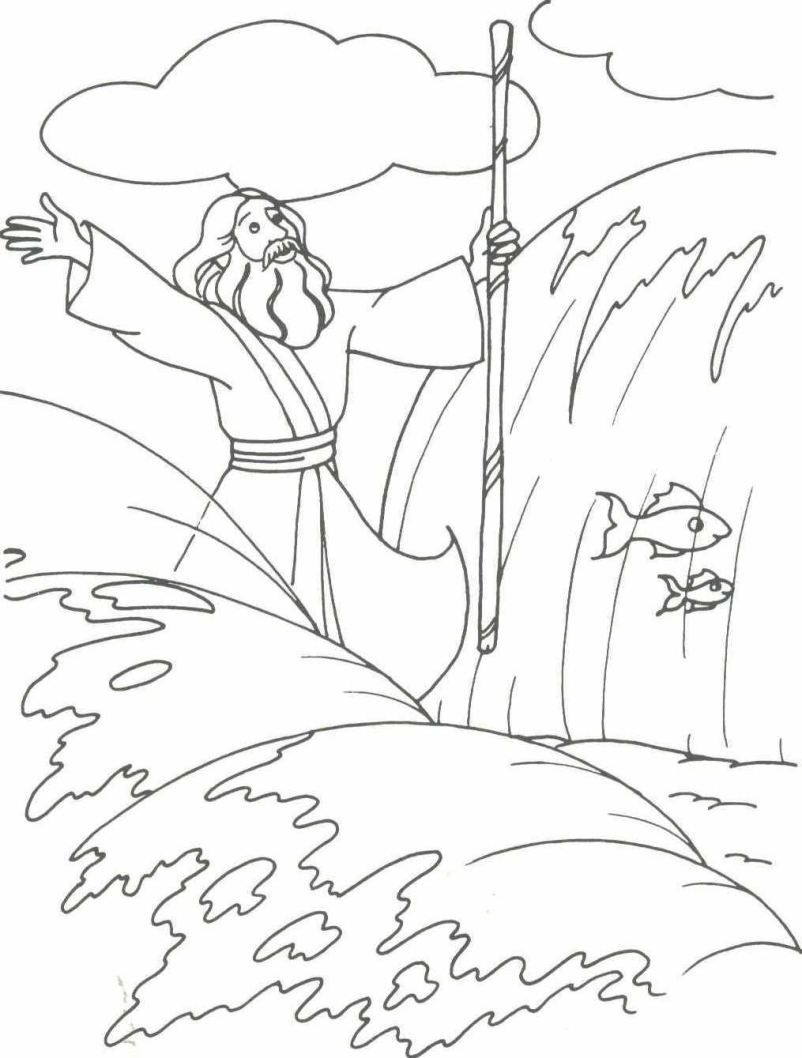 moses red sea coloring pages - photo#17