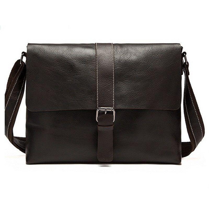 Top Cowhide Leather Men Messenger Bag Shoulder Bag Vintage Genuine Leather Business Bags Zipper Crossbody Bags for Men YW6040