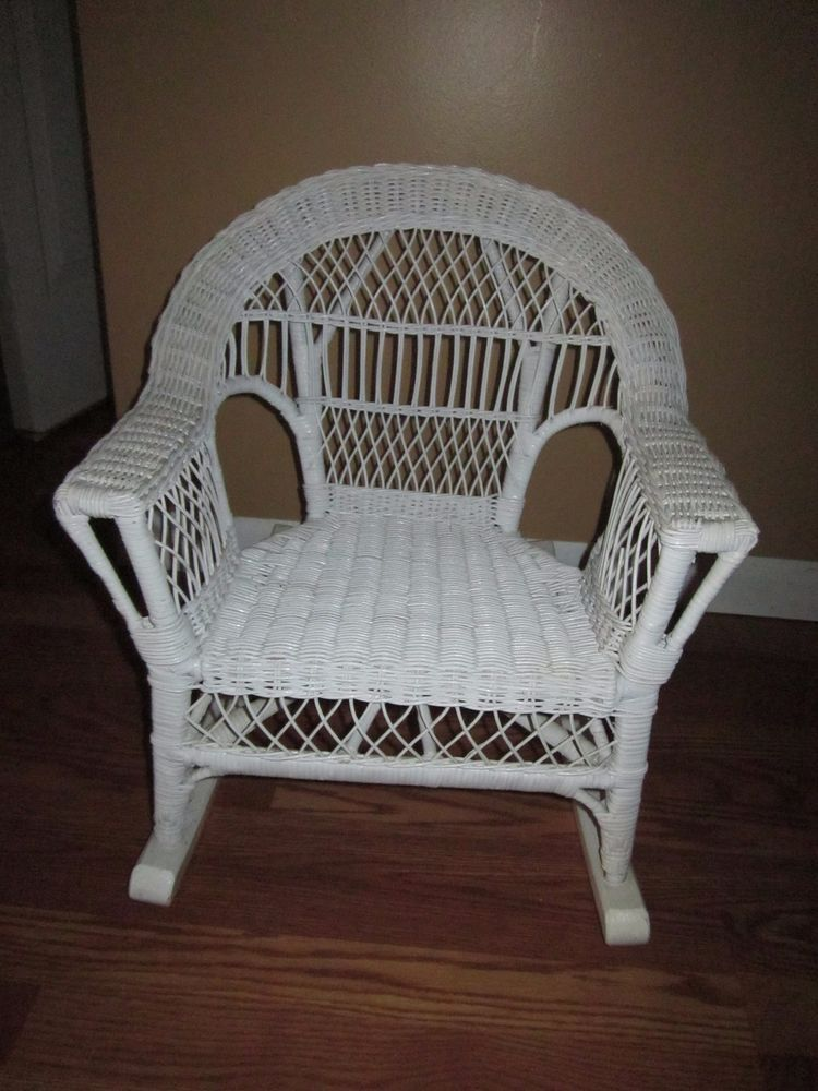 Vintage Childs Toddlers White Wicker Rocking Chair White