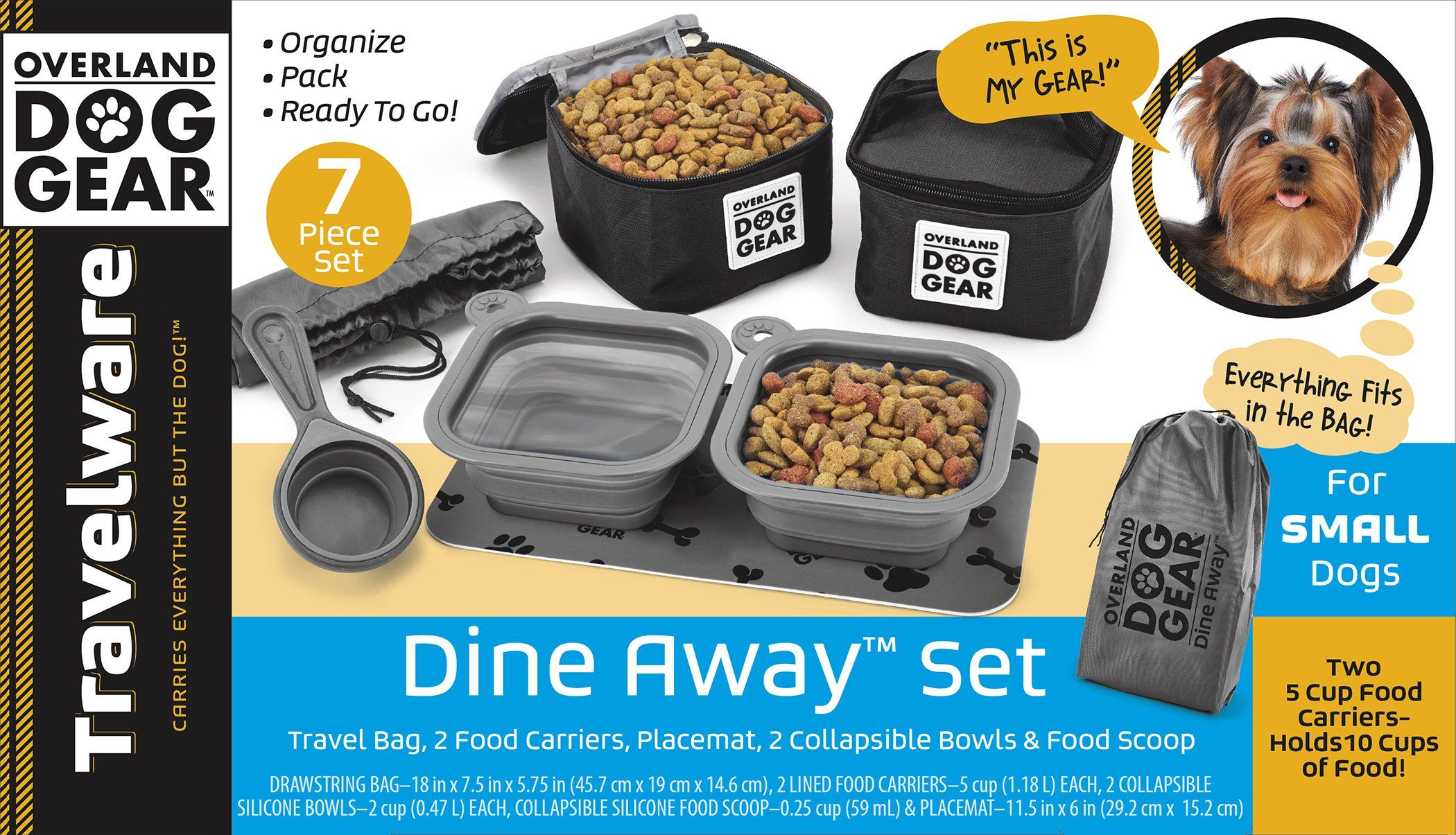 Dog Travel Food Set For Small Dogs Black 7pk Including Collapsible