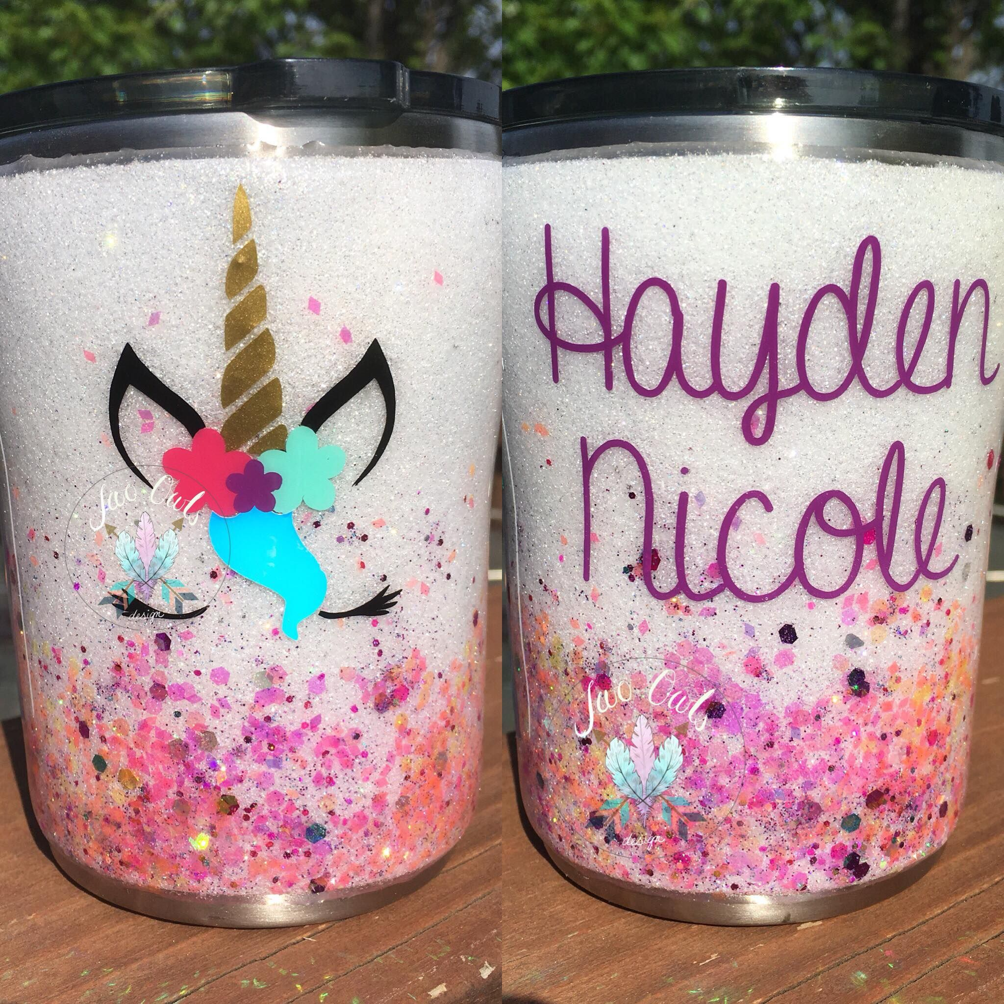 Glitter Stainless Steel Tumbler Cup 10 Oz Lowball Little Girls Cup Unicorn Personalized Custom Glittered