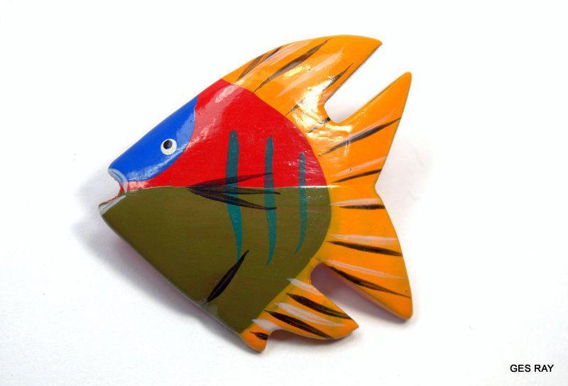 Angelfish Folk Art Wooden Wood Hand Painted Fish Brooch Vintage Brooch Pin