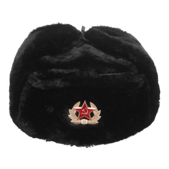 M XL XXL USHANKA HAT BLACK WINTER SOVIET STAR BADGE EMBLEM S L